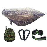 GYL SPORT Hamac de Camping pour 2 Personnes avec Moustique et Parasol/Housse de Pluie hamac Double Camouflage HTM-010