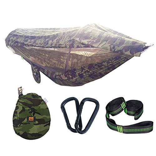 GYL SPORT Hamaca de Camping para 2 Personas con Mosquitos y Parasol/Protector de Lluvia Hamaca Doble de Camuflaje HTM-010
