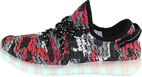 ATS Unisex LED-Schuhe, atmungsaktiv, leuchtende Schuhe für Männer, Frauen, Jungen, Mädchen, Kleinkinder, Kinder und Erwachsene, 11 Farbmodi, Dual USB-Ladefunktion, Größen 1-13, (Red-black Camo), 41 EU