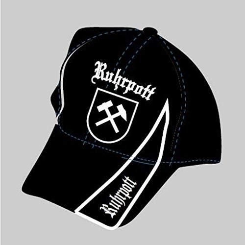 Ruhrpott Kappe Cap mit Stick Baseballcap Basecap Kappe Mütze Schrift Fahne Pott Kohle schwarz