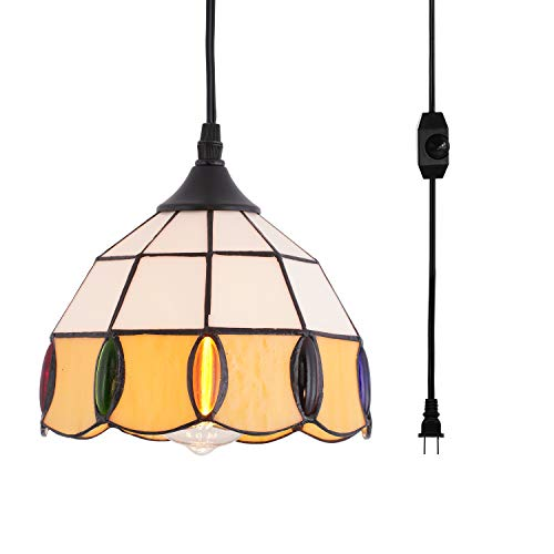 HMVPL Vintage Tiffany Glass Pendant Ceiling Light with 16.4 Ft Plug in Cord...