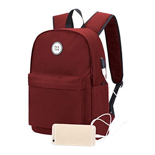 Pak One - Laptop-Rucksack Passend für 13' Macbook Inklusive Wireless Power Bank zum Aufladen - USB-Ladeanschluss Perfekter Rucksack für Herren und Damen für Schule, Wandern, Camping und Outdoor-Reisen