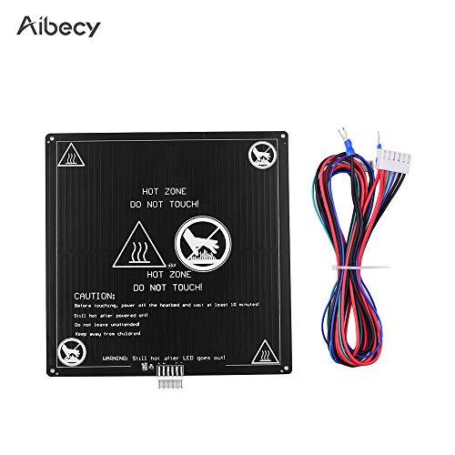 Aibecy Cama con calefacción de aluminio 12 V Cama caliente 220 * 220 * 3 mm con cable Cable Kit de plataforma de cama caliente para Anet A8 A6 Piezas de impresora 3D
