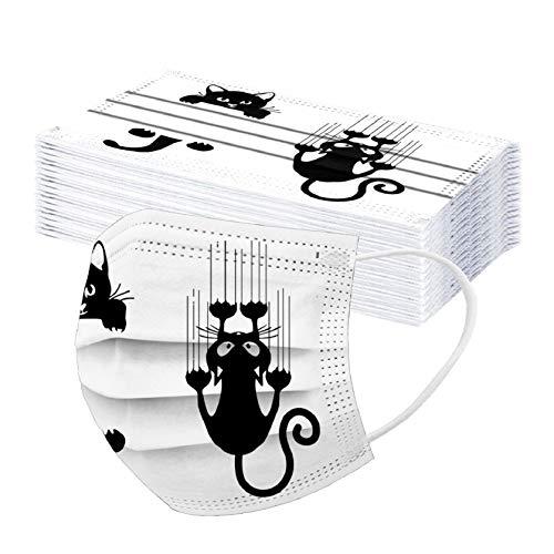 30 Stück Einmal-Mundschutz, Einweg Erwachsene Mundschutz mit Motiv Katze Blumen Bunt MNS Mund Nasenschutz 3 Lagig Atmungsaktiv Bandana Halstuch für Damen Männer