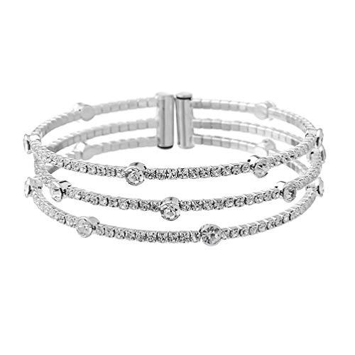Holibanna Kristall Strass Armband Weit Offen Armreif Stretch Armband Hochzeit Braut Brautjungfer Frauen Armband Schmuck Link Tennis Armband Silber