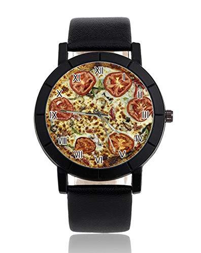 Veggie Pizza Damen Herren Uhren Analog Quarz Armbanduhr Leder Uhren