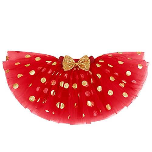 FYMNSI Conjunto de 4 piezas para fiesta de cumpleaños de bebé para niñas de 1/2/1/2/3 cumpleaños + falda de tutú de princesa + cinta para la cabeza + calcetines Rojo - 1º cumpleaños 1 Año