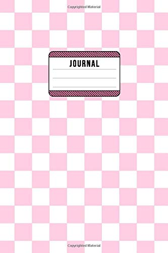 Jounrnal: Checker - Lined Composition Notebook - 6x9 - 100 Pages - Pink & White