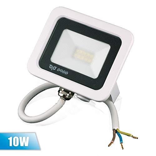 POPP® juegos de 5 y 10 Floodlight Foco Proyector LED 10w 20w 30w 50w para Exterior Iluminación Decoración 6000k luz fria Impermeable IP65 Blanco transparente y Opal (Focos blanco Opal10w, 1 unidad)
