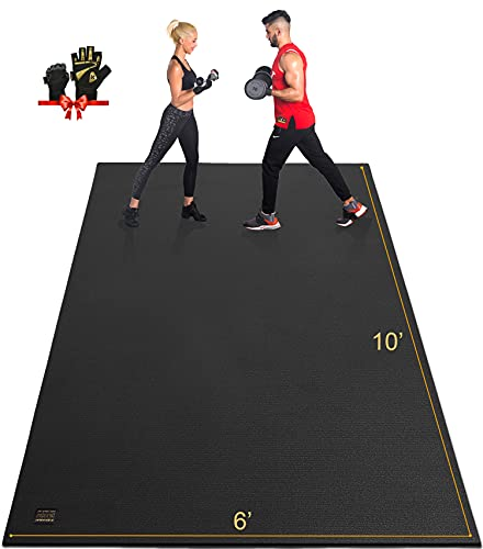 GXMMAT Extra Large Exercise Mat 10'x6'x7mm, Ultra Durable Workout Mats for Home Gym Flooring, Shoe-Friendly Non-Slip Cardio Mat for MMA, Plyo, Jump, All-Purpose Fitness