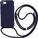 Hykjt Funda con Cuerda Compatible con iPhone 6/7/8 Plus(5.5'),Ajustable Collar Correa de Cuello Cordón Carcasa Caja Silicona Líquida TPU Bumper Caso-Azul