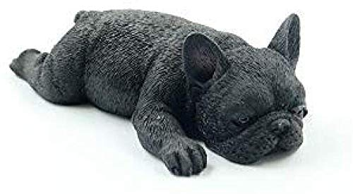 RZXLSZ Sculptures Statues Ornaments Figurine Collectible Figurines French Bulldog Meng Sleep Small Law Simulation Animal Dog Model Sleeping Posture Method Cattle Car Decoration Pure Black