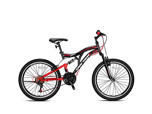"Geroni FCX 100 Mountainbike Fully 21-Gang // 20\"", 24\"", 26\"" Zoll Fahrrad Jungen/Herren (Schwarz-Rot, 26\"" Zoll)"