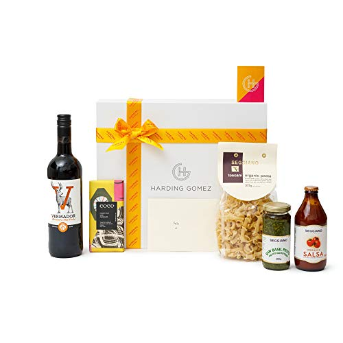 'La Dolce Vegan' | Harding Gomez Vegan Seggiano Gourmet Foodie Gift Box/Basket Hamper - With Pesto Salsa Pasta Red/White Wine For Birthday/Christmas - Hand-Written Letters and Personal Touches