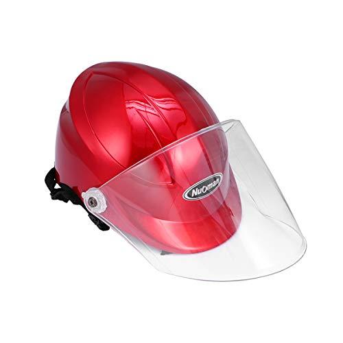 ABOOFAN Anti- quemaduras Ciclismo cabeza casco seguro Cap Motor accesorio para mujeres al aire libre Scooter Suministros con pantalla (rojo)