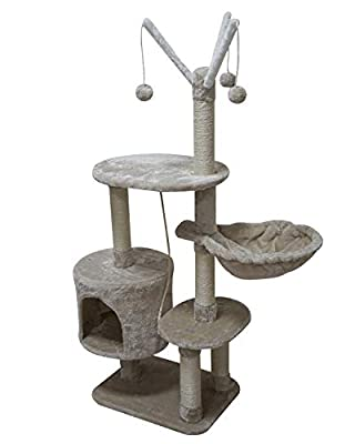 MIAO PAW 7BCat Tree Tower Condo Sisal Post Scratching Furniture Activity Center Play House Cat Bed Beige