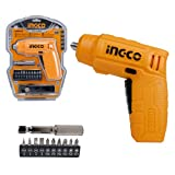 Homdum cordless drill screwdriver ingco rechargeable and screw driver kit with LED Light and 11 pc accessories 4V Lithium-Ion 6.35mm.