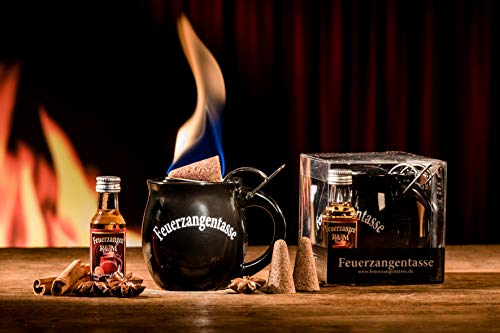 Feuerzangentasse 1er-Set, Schwarz (mit Rum) - für Feuerzangenbowle
