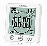 GXSTWU HD デジタルシャワー 時計 タイマー付き 温度計 湿度計 [ウォータースプレー用防水] タッチボタン 浴室 キッチン 壁時計 マグネット付き 吸盤 吊り下げ穴 スタンド付き (1パック)