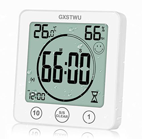 GXSTWU Orologio digitale con sveglia, impermeabile, per bagno, cucina, con termometro, igrometro, con foro a ventosa e supporto magnetico, bianco, PC + ABS., bianco, 1pack