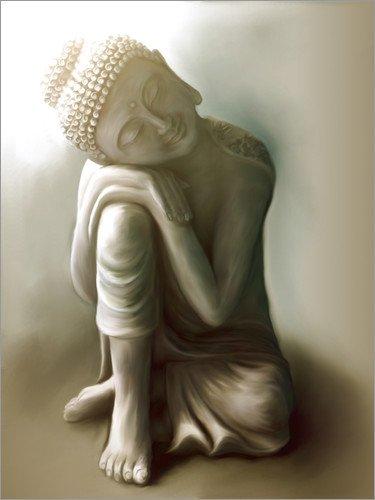 Posterlounge Holzbild 60 x 80 cm: Ruhender Buddha von Christine Ganz