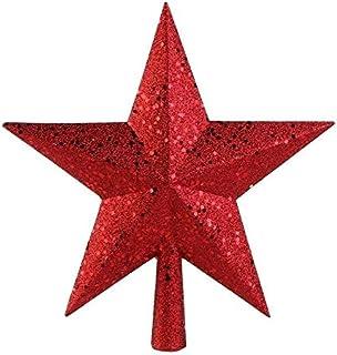 Seasonal Décor أحمر لامع مصغرة نجمة شجرة عيد الميلاد توبر شجرة عيد الميلاد أعلى ستار السنة الجديدة عيد الميلاد ديكور 9 بوص...