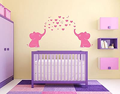 ARES Cute Pink Elephant Wall Decals, Family Wall Stickers for Kid Room, Baby Nursery Decor