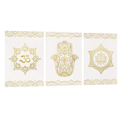 Bilderwelten Leinwand-Bild 3-teilig - Hamsa Hand Lotus OM Illustration - 3X 60x40cm - Canvas