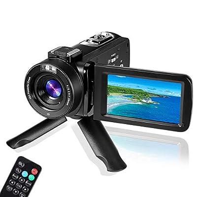 Digital Video Camera YouTube Vlogging Camcorder, HD 1080P 30FPS 24MP 16X Digital Zoom 3.0 Inch 270 Degree Rotation LCD, Video Camera Digital Students Cameras, for Men/Women/Seniors/Kids by VETEK