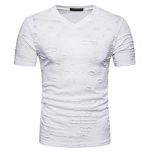 KXZD Men's Short-Sleeved T-Shirt Summer V-Neck Bottoming Shirt Tide Half-Sleeved t-Shirt 3D Print Tshirts Short Sleeve Crewneck Graphic Tee Shirts Men's Fashion V-Neck Slim Short-Sleeved T-Shirt