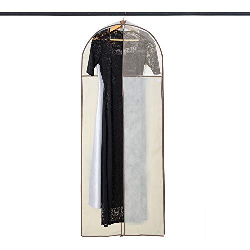 Smart Design Gusseted Gown Garment Bag w/ Clear Window - Includes Zipper Closure & Travel Loop - for Gowns, Coats, & Pants Storage Organization - (24 x 62 Inch) [Beige]