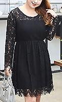 【セール】hortensia 大きいサイズ 結婚式 パーティ【 レース ワンピース ドレス ブラック XL 】 ワンピース 長袖 春 秋 冬 オールシーズン 通年 レース素材 お呼ばれワンピース 黒 レディース