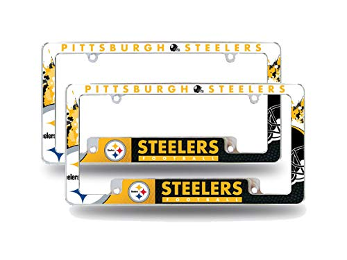 Rico Pittsburgh Steelers NFL (Set of 2) Chrome Metal License Plate Frames with Bold Full Frame Design