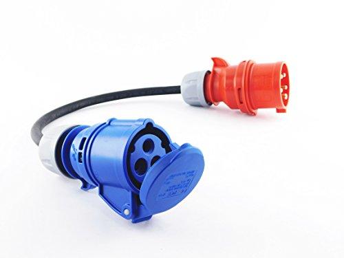 NWP NW10008 Kupplung 230V 16A auf CEE Stecker 400V 16A-3x2,5mm² Gummischlauchleitung-IP44-Für Camping, Caravan, Boot, Märkte, Außenbereich Adapter