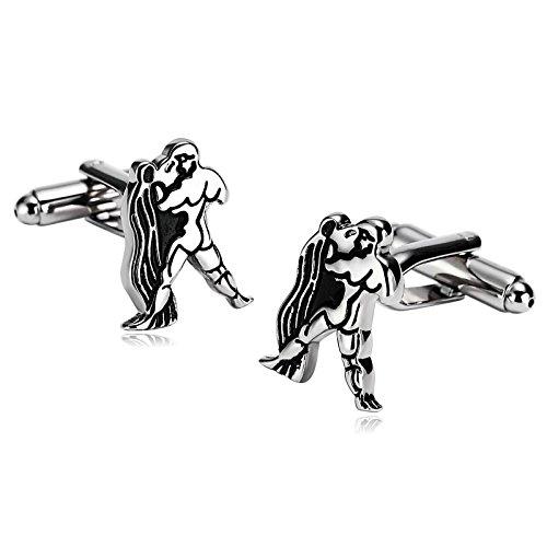 Aimsie 1 Par de Los Hombres Gemelos Constelación de Acuario Plata Negro 1.3×1.8 cm Personalidad Hombres Regalos