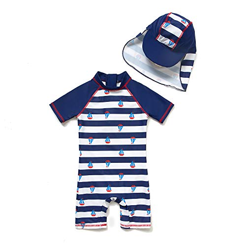 BONVERANO Baby Junge EIN stück Kurzärmel-Kleidung UV-Schutz 50+ Badeanzug MIT Einem Reißverschluss(Blau-KSegeln,3-6M)