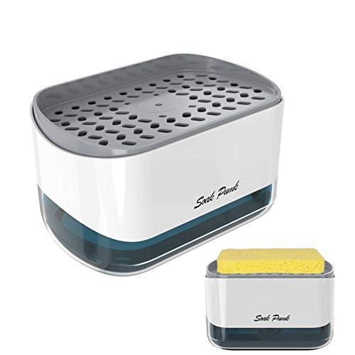 2021 Version Dispenser Sapone Liquido e Detersivo con Spugna Piatti, Dosatore Portasapone & Detersivo per Lavello Cucina in Plastica
