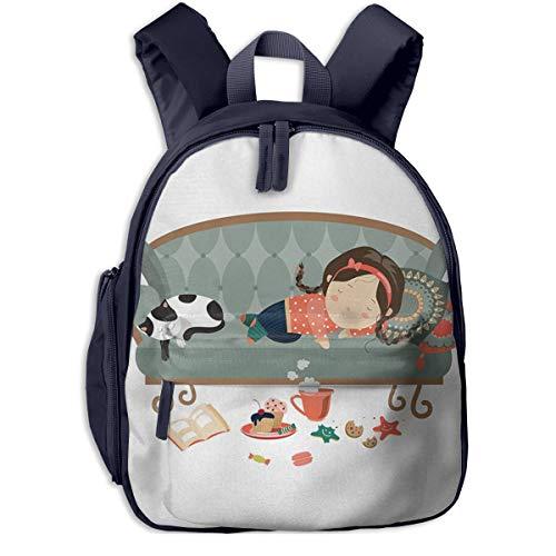 Kinderrucksack Mädchen Ihr Katzensofa Babyrucksack Süßer Schultasche für Kinder 2-5 Jahre