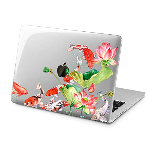 Cavka Hard Shell Case for Apple MacBook Pro 13' 2019 15' 2018 Air 13' 2020 Retina 2015 Mac 11' Mac 12' Koi Fish Design New Cover Flowers Pond Japanese Print Lily Water Laptop Protective Plastic Cute
