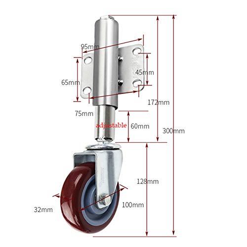 4 Zoll / 100 mm gefederte Torrollen, Schwerlast-Lenkrollen/Rollen mit Langen Stielen, rote Polyurethanrollen, einstellbare Höhe 60 mm, Tragfähigkeit 80 kg