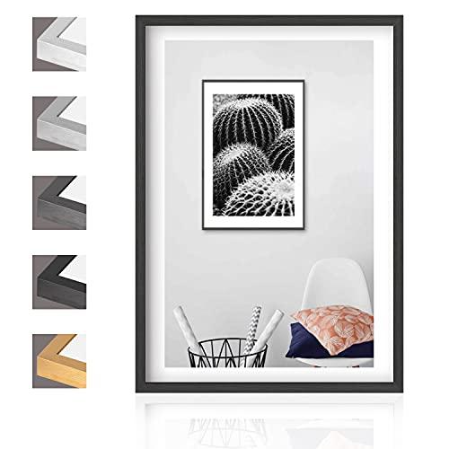 Aibesser Marco de fotos negro 21 x 30 cm A4, marco de aluminio marco de fotos de MDF con cristal acrílico, para colgar horizontal y vertical