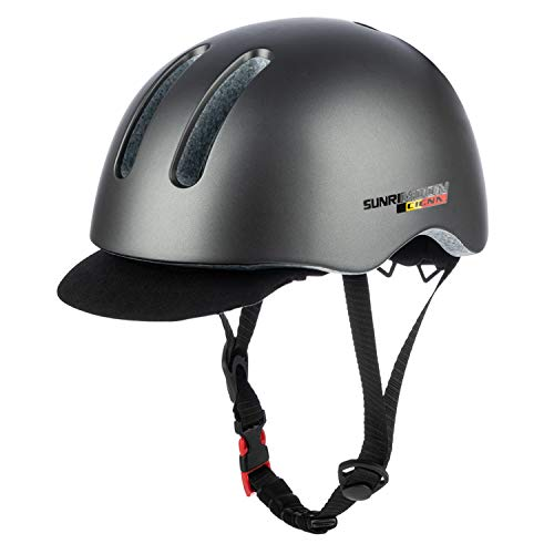 SUNRIMOON Bicycle Helmet Adult Cycling Helmet Safety City Bike Lightweight Riding Bike Helmet with Removable Visor for Urban Commuter Adjustable Size 22.05-24.41 Inches (Gray)