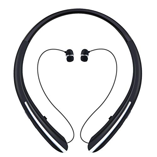 Bluetooth Headphones, Wireless Headphones Retractable Earbuds Neckband Headset with Mic Sport Sweatproof Stereo Earphones (12 Hours Work Time, Bluetooth 5.0) (Black)