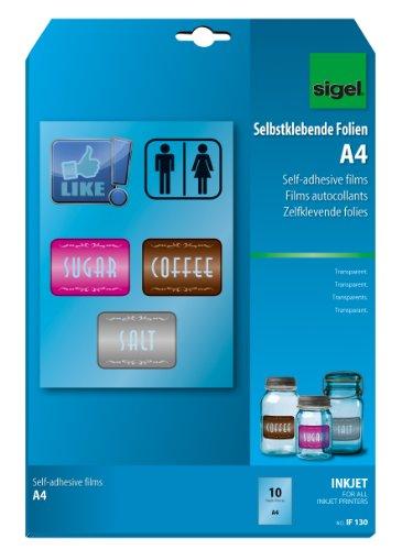SIGEL IF130 InkJet-folie A4, 10 vellen, zelfklevend, transparant, stapelverwerkbaar, 140 μm