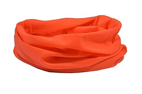 Ruffnek Orange Fluorescent Haute Visibilité Cache-Cou/Foulard Multifonctions/Tour de Cou - Pour Moto, cyclisme, fitness - pour Homme, Femme et Enfant