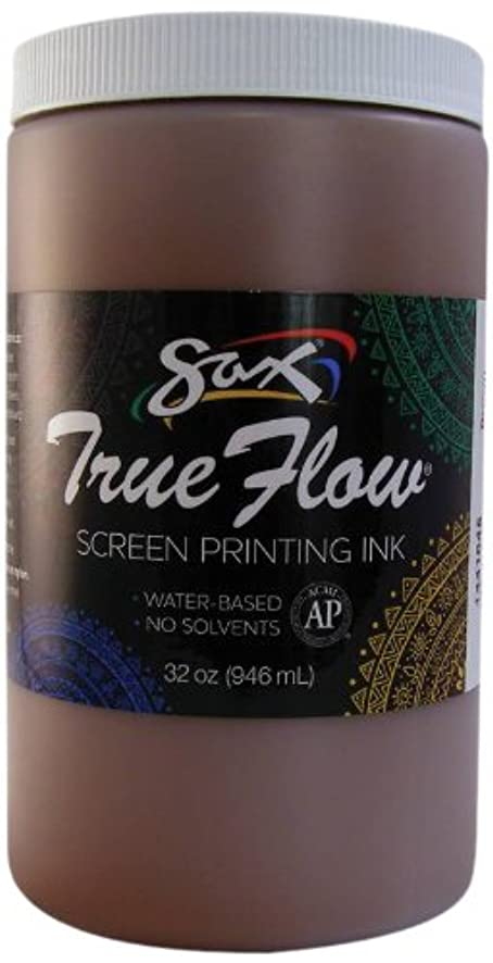 Sax 1441645 True Flow Non-Flammable Screen Printing Ink, 1-Quart, Brown