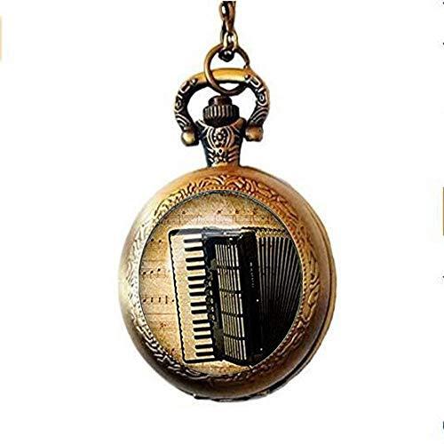 xinzhahi Vintage Akkordeon Glas Cabochon Taschenuhr Halskette Modeschmuck für Damen Herren