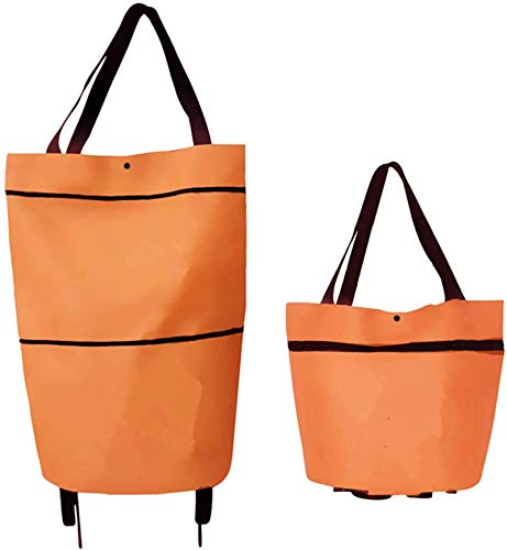 2 in 1 Foldable Shopping Bag With Wheels, Lightweight Trolley Bags Telescopic Storage Bag Bigger Capacity Collapsible Grocery Cart for Shopping, Super Markets, Trips (Orange)