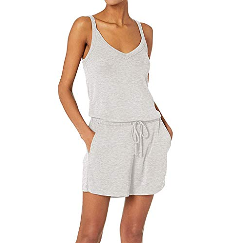 Buy Toimothcn Women Sleeveless Romper Tank Summer Solid V-Neck Daliy Pajama Set Lounge Rompers(Gray,...