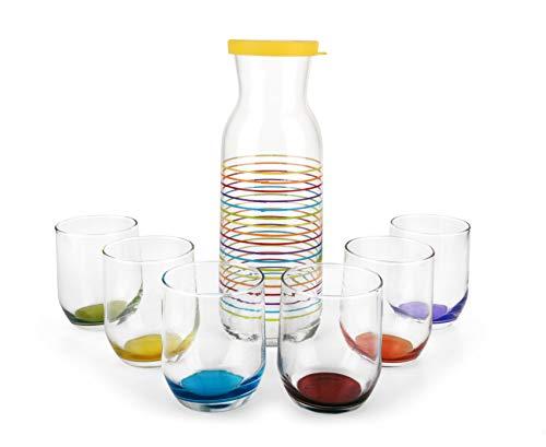 LAV Juego de vasos con botella y vasos de colores, 7 piezas, 6 vasos y una jarra, vasos Jarra de 320 ml con tapa 1.2 litros